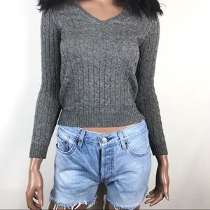 J Crew Gray Cable Knit Sweater